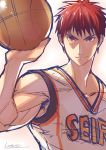 1boy ball basketball basketball_uniform brown_hair closed_mouth highres holding holding_ball kagami_taiga kotatsu_(g-rough) kuroko_no_basuke looking_at_viewer male_focus muscle red_eyes redhead shirt signature sketch smile solo sportswear upper_body white_shirt