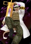 1boy abs absurdres arm_up armband bara beard boots chest chest_hair doctor facial_hair full_body furry highres horns huge_weapon keijimohumohu labcoat male_focus manly muscle oversized_object pants pectorals purple_horns shennong_(tokyo_afterschool_summoners) solo syringe tank_top thick_thighs thighs tight tight_pants tokyo_houkago_summoners violet_eyes weapon white_hair