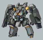 arm_cannon backpack bag clenched_hands dated grey_background highres looking_down mecha moi_moi7 no_humans original solo visor weapon