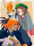 1boy 1girl black_hair blush brown_eyes brown_hair cardigan cinderace commentary dark_skin dark_skinned_male dress earrings fang feeding gen_6_pokemon gen_8_pokemon goomy green_headwear grey_cardigan gym_leader highres holding hood jewelry kibana_(pokemon) mu_acrt open_mouth orange_headwear pink_dress pokeblock pokemon pokemon_(creature) pokemon_(game) pokemon_swsh short_hair smile tam_o'_shanter yuuri_(pokemon)