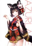 1girl :d absurdres animal_ears ayamy azur_lane bangs bell black_hair black_kimono blush bob_cut breasts cat_ears cat_mask claw_pose contrapposto cowboy_shot eyebrows_visible_through_hair fang hair_ornament hair_ribbon hands_up heart heart_in_eye highres japanese_clothes jingle_bell kimono large_breasts looking_at_viewer mask mask_on_head open_mouth red_eyes ribbon scan shide short_hair short_kimono sideboob sidelocks simple_background smile solo standing symbol_in_eye tareme thighs white_background wide_sleeves yamashiro_(azur_lane)
