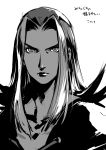 1boy androgynous closed_mouth greyscale highres jojo_no_kimyou_na_bouken kotatsu_(g-rough) leone_abbacchio long_hair looking_at_viewer male_focus monochrome simple_background sketch slit_pupils solo translation_request upper_body vento_aureo white_background