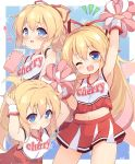 1girl :d ;d arm_up arms_up baku-p bangs bare_shoulders blonde_hair blue_eyes blush bottle bow breasts cheerleader closed_mouth commentary_request eyebrows_visible_through_hair hair_between_eyes hair_ribbon highres holding holding_bottle lily_white long_hair looking_at_viewer midriff mouth_hold multiple_views navel notice_lines one_eye_closed open_mouth pink_bow pleated_skirt pom_poms ponytail red_ribbon red_skirt ribbon ribbon_in_mouth shirt skirt sleeveless sleeveless_shirt small_breasts smile touhou translation_request tying_hair very_long_hair water water_bottle white_shirt wrist_cuffs