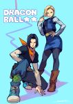 1boy 1girl android_17 android_18 ankle_boots bandana black_hair black_legwear black_shirt black_vest blonde_hair blue_eyes blue_footwear blue_pants blue_skirt boots brother_and_sister brown_footwear closed_mouth contrapposto copyright_name cowboy_shot denim denim_skirt dragon_ball dragon_ball_z foreshortening green_legwear hand_on_hip highres jacket kotatsu_(g-rough) long_sleeves looking_at_viewer open_clothes open_jacket pants pantyhose pencil_skirt shirt shoes short_hair short_over_long_sleeves short_sleeves siblings signature skirt sleeveless sleeveless_jacket smile socks standing vest white_shirt
