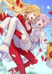 2girls ahoge arm_around_shoulder blonde_hair blurry_foreground blush bouquet carrying cherico commentary falling_petals flower formal green_eyes hair_tubes high_heels highres long_hair looking_at_viewer multiple_girls open_mouth pants petals princess_carry purple_hair red_nails red_pants red_suit sidelocks signature suit tsurumaki_maki violet_eyes vocaloid voiceroid white_pants white_suit yuzuki_yukari