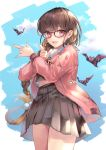 1girl absurdres bangs bat blue_sky blush breasts brown_hair contemporary fate/grand_order fate_(series) glasses gradient_hair grey_skirt hane_yuki highres jacket large_breasts long_hair long_sleeves looking_at_viewer multicolored_hair open_clothes open_jacket open_mouth osakabe-hime_(fate/grand_order) pink_jacket skirt sky smile thighs very_long_hair violet_eyes