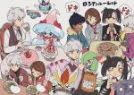 2boys 2girls asymmetrical_bangs bangs beet_(pokemon) black_hair blush bowl brown_eyes brown_hair chopsticks cinderace commentary_request cup curly_hair dark_skin dark_skinned_male eyelashes food full_mouth gen_3_pokemon gen_8_pokemon green_eyes grey_hair hattrem highres holding holding_chopsticks holding_cup holding_food holding_saucer hop_(pokemon) kirlia mary_(pokemon) morpeko multiple_boys multiple_girls nashubi_(to_infinity_wow) noodles pokemon pokemon_(game) pokemon_swsh polteageist saucer sinistea translation_request violet_eyes white_background yuuri_(pokemon)
