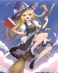 1girl :d apron bangs black_dress black_footwear blonde_hair blush bow braid broom broom_riding buttons dress eyebrows_visible_through_hair flying frilled_dress frills full_body goma_(u_p) hair_bow hat hat_bow highres kirisame_marisa long_hair looking_at_viewer mary_janes open_mouth petticoat puffy_sleeves red_bow shoes short_sleeves side_braid single_braid sky smile socks solo touhou v-shaped_eyebrows waist_apron white_bow white_legwear witch_hat yellow_eyes