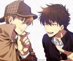 2boys annoyed argyle argyle_background blue_eyes brown_coat brown_hair brown_headwear chin_stroking coat collared_shirt commentary_request deerstalker eye_contact eyebrows_visible_through_hair gakuran grey_background hakuba_saguru hat kuroba_kaito light_brown_hair looking_at_another magic_kaito male_focus mashima_shima meitantei_conan multiple_boys open_mouth pointing_at_another red_eyes school_uniform shirt smile sweatdrop teeth twitter_username upper_body v-shaped_eyebrows white_shirt