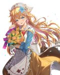 1girl :p apron bangs blue_eyes blue_flower blush bouquet bow braid brown_skirt earrings eyebrows_visible_through_hair flower hair_between_eyes hair_flower hair_ornament hat jewelry long_hair long_sleeves looking_at_viewer matanonki nijisanji orange_flower otogibara_era revision simple_background skirt smile tongue tongue_out very_long_hair virtual_youtuber waist_apron white_background white_flower white_headwear yellow_flower