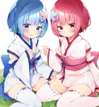 2girls alternate_costume bangs blue_bow blue_eyes blue_flower blue_hair blush bow breasts child closed_mouth commentary_request detached_sleeves eringikinono eyebrows_visible_through_hair feet_out_of_frame flower flower_knot grass hair_flower hair_ornament hair_over_one_eye highres japanese_clothes kimono large_bow long_sleeves looking_at_viewer maid multiple_girls obi pink_flower pink_hair pink_ribbon pout purple_bow purple_ribbon ram_(re:zero) re:zero_kara_hajimeru_isekai_seikatsu red_eyes rem_(re:zero) ribbon ribbon-trimmed_legwear ribbon_trim sash short_hair short_kimono siblings sisters sitting thigh-highs twins wariza white_background white_legwear wide_sleeves x_hair_ornament younger zettai_ryouiki