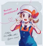 1girl :d blue_overalls blush brown_eyes brown_hair english_text eyelashes hands_up hat hat_ribbon heart highres kotone_(pokemon) looking_at_viewer mu_acrt open_mouth overalls pokemon pokemon_(game) pokemon_hgss ribbon shiny shiny_hair smile solo teeth tongue twintails v white_headwear