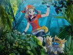 1girl bandana bangs bike_shorts blue_eyes breasts brown_hair commentary_request eyelashes gen_3_pokemon gloves haruka_(pokemon) highres holding long_hair looking_down mu_acrt outdoors parted_lips pokemon pokemon_(creature) pokemon_(game) pokemon_rse red_bandana shirt signature tree zigzagoon