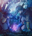 1boy arlon_(pokemon) artist_name bangs black_cape black_hair black_headwear blue_eyes blue_footwear blue_gloves boots cape commentary_request gen_4_pokemon gloves hat highres looking_down lucario mu_acrt outdoors pants pokemon pokemon_(anime) pokemon_(creature) pokemon_m08 pokemon_rse_(anime) smile tree