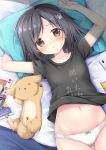 1girl arms_up ass_visible_through_thighs bangs bed bed_sheet black_hair black_shirt blanket bow bow_panties brown_eyes bunny_hair_ornament cellphone closed_eyes collarbone dog eyebrows_visible_through_hair hair_ornament hairclip highres korie_riko looking_at_viewer lying manga_(object) midriff navel on_back original panties parted_lips paws phone pillow shirt shirt_lift short_sleeves smartphone solo swept_bangs underwear white_panties