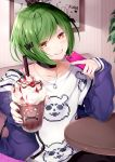 1boy a3! absurdres black_bow black_nails bow brown_eyes choker coffee collarbone cup dopikasu-chan drinking_straw eyebrows_visible_through_hair green_hair grin hair_bow highres holding holding_cup holding_phone jewelry looking_at_viewer necklace off-shoulder_jacket phone smile solo