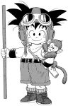 1boy absurdres alternate_costume animal animal_on_shoulder ankle_boots arm_at_side bare_arms bare_shoulders belt black_eyes black_footwear black_hair boots child closed_mouth collarbone commentary dragon_ball dragon_ball_(classic) fingernails full_body goggles goggles_on_head greyscale hand_in_pocket happy highres holding holding_weapon looking_at_viewer male_focus messy_hair monkey monkey_tail monochrome nyoibo official_art short_shorts shorts simple_background smile socks son_gokuu spiky_hair standing tail tank_top toriyama_akira weapon white_background white_tank_top wristband