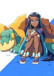 1girl aqua_hair armlet belly_chain black_hair commentary_request dark_skin dive_ball drednaw earrings eyelashes gen_8_pokemon gloves gym_leader highres holding holding_poke_ball hoop_earrings jewelry knees_together_feet_apart long_hair looking_at_viewer makeup multicolored_hair necklace poke_ball pokemon pokemon_(creature) pokemon_(game) pokemon_swsh rurina_(pokemon) sandals single_glove toes two-tone_hair wedo wet