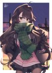 1girl ahoge bangs black_hair black_jacket blurry blurry_background blush_stickers brown_eyes brown_legwear brown_mittens cardigan commentary_request contrapposto depth_of_field eyebrows_visible_through_hair fringe_trim green_scarf hair_between_eyes hair_intakes hands_on_hips jacket long_hair mittens natsuki-chan_(natsuki_teru) natsuki_teru open_clothes open_jacket original pantyhose pink_cardigan plaid plaid_scarf scarf signature solo standing sunset very_long_hair