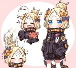 1girl :d abigail_williams_(fate/grand_order) absurdres animal_print bandaid bandaid_on_forehead bangs black_bow black_jacket blonde_hair blue_eyes bow bug butterfly closed_eyes closed_mouth facing_viewer fate/grand_order fate_(series) hair_bow hair_bun heroic_spirit_traveling_outfit highres huge_filesize insect jacket jako_(jakoo21) long_hair long_sleeves looking_at_viewer medjed multiple_views object_hug open_mouth orange_bow parted_bangs polka_dot polka_dot_bow sleeves_past_fingers sleeves_past_wrists smile stuffed_animal stuffed_toy suction_cups teddy_bear tentacles tiger_print very_long_hair