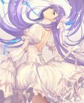 1girl back bangs blue_eyes blush breasts dress fate/extra fate/extra_ccc fate_(series) grin head_tilt highres juliet_sleeves long_hair long_sleeves looking_at_viewer looking_back meltryllis petals puffy_sleeves purple_hair sleeves_past_fingers sleeves_past_wrists small_breasts smile thighs untue very_long_hair white_dress