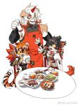 1girl aak_(arknights) animal_ears apron arknights bangs black_hair bowl cat_ears cellphone chinese_clothes dog_ears earrings eating food furry glasses holding horns hung_(arknights) jewelry multicolored_hair multiple_boys open_clothes orange_hair orange_tunic phone rice_bowl short_hair single_horn smartphone streaked_hair tail tiger_ears tiger_girl tiger_tail waai_fu_(arknights) white_hair yellow_sclera yuyanshu13