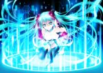 1girl absurdly_long_hair all_fours bangs black_legwear blue_eyes blue_hair breasts drugstore04 eyebrows_visible_through_hair floating_hair hair_between_eyes hair_ornament hatsune_miku leotard long_hair looking_at_viewer medium_breasts miku_append parted_lips reaching_out shiny shiny_hair solo very_long_hair vocaloid vocaloid_append white_leotard