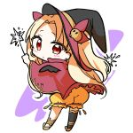1girl ass bangs black_headwear black_legwear blonde_hair bloomers blush cape chibi closed_mouth earrings ereshkigal_(fate/grand_order) fate/grand_order fate_(series) hair_ornament hair_ribbon hair_through_headwear hat holding holding_wand jako_(jakoo21) jewelry leaning_forward long_hair looking_at_viewer looking_back orange_bloomers outline parted_bangs purple_background red_cape red_eyes red_ribbon ribbon single_thighhigh skull_hair_ornament solo standing thigh-highs two-tone_background two_side_up underwear very_long_hair wand white_background white_outline witch_hat
