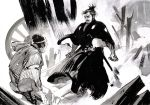 2boys clenched_hand commission destroyed facial_hair highres holding holding_sword holding_weapon ink_(medium) matias_bergara mifune_toshiro monochrome multiple_boys mustache open_mouth real_life samurai sword tied_hair traditional_media weapon yojimbo_(film)
