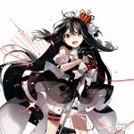 1girl bangs black_dress black_hair bow character_request copyright_request crown detached_sleeves dress gloves layered_dress long_hair open_mouth red_eyes rella simple_background sleeveless sleeveless_dress solo upper_teeth white_background white_gloves