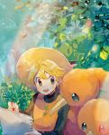 1girl bangs blonde_hair blush day doduo drawing foliage gen_1_pokemon grey_eyes hat highres holding light_beam looking_to_the_side mu_acrt open_mouth outdoors pokemon pokemon_(creature) pokemon_special shiny shiny_hair short_hair sketchpad teeth upper_teeth yellow_(pokemon)