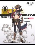 1girl absurdres animal_ear_fluff animal_ears arknights bangs belt black_hair boots brown_belt brown_footwear brown_gloves brown_headwear bullet character_name chinese_commentary commentary_request copyright_name cowboy_hat crop_top ears_through_headwear eyepatch full_body gloves gun hair_between_eyes hand_up handgun hat highres holding holding_gun holding_weapon honeybat katana knee_boots long_hair long_sleeves looking_at_viewer midriff multicolored_hair navel penguin_logistics_logo pistol redhead revolver scabbard sheath sheathed shirt smoke solo standing stomach sword tail texas_(arknights) very_long_hair weapon western white_background white_shirt wolf_ears wolf_tail yellow_eyes