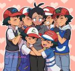 6+boys antenna_hair artist_name bangs baseball_cap black_hair black_pants blue_eyes blue_pants blush closed_eyes commentary english_commentary eyelashes gou_(pokemon) hair_ornament hairclip hands_up happy hat heart hug looking_down male_focus multiple_boys multiple_persona open_mouth pants pokemon pokemon_(anime) pokemon_(classic_anime) pokemon_bw_(anime) pokemon_dppt_(anime) pokemon_rse_(anime) pokemon_sm_(anime) pokemon_swsh_(anime) pokemon_xy_(anime) sara_bonetti satoshi_(pokemon) smile teeth two-tone_background yaoi
