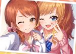 2girls ;) ;d alisia0812 blue_bow blue_eyes blush bow breasts brown_eyes brown_hair cardigan closed_mouth collarbone collared_shirt commentary_request diagonal_stripes hair_bow hand_up houjou_karen idolmaster idolmaster_cinderella_girls jewelry long_hair long_sleeves looking_at_viewer medium_breasts multiple_girls nail_polish one_eye_closed ootsuki_yui open_mouth pendant pink_bow pink_cardigan pink_nails pink_shirt reaching_out self_shot shirt sleeves_past_wrists smile striped striped_bow upper_teeth v white_cardigan white_shirt