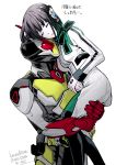 1boy 1girl absurdres antenna_hair aqua_hair armor bangs black_hair black_legwear bow breasts carrying closed_eyes copyright_name episode_number eyebrows_visible_through_hair highres humagear_headphones is_(kamen_rider_01) jacket kamen_rider kamen_rider_01_(series) kamen_rider_zero-two lips lipstick long_sleeves makeup mask medium_breasts multicolored_hair parashima_tenko parted_lips red_eyes rider_belt robot_ears shiny shiny_hair short_hair simple_background skirt streaked_hair two-tone_hair white_background white_jacket