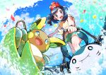 1girl :d absurdres alolan_form alolan_raichu bangs beanie black_hair blush clenched_hand clouds commentary_request day gen_2_pokemon gen_7_pokemon green_shorts hat highres holding making-of_available mantine medium_hair mizuki_(pokemon) open_mouth outdoors pokemon pokemon_(creature) pokemon_(game) pokemon_sm pon_yui red_headwear shirt shorts sky smile splashing standing summer surfing teeth tied_shirt tongue upper_teeth water waves