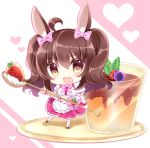 1girl ahoge animal_ears apron bangs black_footwear bow breasts brown_eyes brown_hair chibi commentary_request eyebrows_visible_through_hair food frilled_apron frills fruit full_body hair_between_eyes hair_bow heart highres holding holding_spoon kneehighs minigirl original pink_background pink_bow pudding puffy_short_sleeves puffy_sleeves purple_skirt rabbit_ears shikito shirt shoes short_sleeves skirt small_breasts solo sparkle spoon standing standing_on_one_leg strawberry two-tone_background two_side_up waist_apron white_apron white_background white_legwear white_shirt