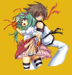 1boy 1girl bare_shoulders black_belt brown_hair couple detached_sleeves green_eyes green_hair happy hikaru_(mini_fighter) kang_hyuk long_hair looking_at_viewer martial_artist medium_hair mini_fighter official_art pink_skirt red_headband ruffled_skirt short_sleeves smile striped_legwear teeth twintails victory_sign violet_eyes white_outfit white_shirt wink yellow_background