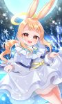 1girl :d angel angel_wings animal_ears blonde_hair character_request copyright_request dress dress_lift halo highres kaneko_kogane lifted_by_self moon open_mouth rabbit_ears see-through smile snowflakes thighs white_dress wings yellow_eyes