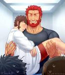 4boys after_sex alternate_costume bara beard blush brown_hair carrying chest couple facial_hair fate/grand_order fate/zero fate_(series) fujimaru_ritsuka_(male) goatee hand_on_another's_thigh highres iskandar_(fate) lord_el-melloi_ii male_focus male_underwear multiple_boys muscle napoleon_bonaparte_(fate/grand_order) pectorals red_eyes redhead shirt sideburns sleeping sleeping_on_person suzuki80 t-shirt underwear waver_velvet