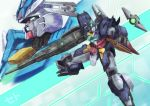 aqua_eyes close-up earthree_gundam funnels gun gundam gundam_build_divers gundam_build_divers_re:rise highres holding holding_gun holding_weapon looking_at_viewer looking_to_the_side mecha no_humans open_hand seto_(atsushi533822) uraven_gundam v-fin weapon