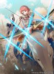 1girl 40hara armor arrow_(projectile) blue_sky bow_(weapon) company_name copyright_name day fingerless_gloves fire_emblem fire_emblem:_three_houses fire_emblem_cipher gloves helmet highres holding holding_bow_(weapon) holding_weapon horse horseback_riding leonie_pinelli official_art open_mouth orange_eyes orange_hair outdoors riding sky solo_focus weapon