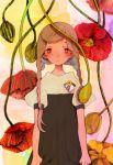 1girl 77nana7vani bangs braid brown_hair expressionless flower highres looking_at_viewer original oversized_flowers plant red_eyes red_flower short_sleeves solo swept_bangs twin_braids upper_body yellow_flower