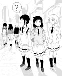 3girls black_hair blazer cardigan from_behind highres jacket kuroki_tomoko long_hair looking_back low_twintails monochrome multiple_girls multiple_persona necktie pps-old short_hair tamura_yuri tanaka_mako twintails watashi_ga_motenai_no_wa_dou_kangaetemo_omaera_ga_warui!