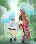 2girls ahoge amane_kanata angel_wings black_jacket black_skirt commentary_request dragon_girl dragon_tail ekuramani eyebrows_visible_through_hair frilled_skirt frills hair_between_eyes holding holding_umbrella hololive jacket kiryuu_coco long_hair looking_at_another multiple_girls outdoors rain redhead short_hair silver_hair skirt tail umbrella virtual_youtuber white_jacket wings