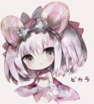 1girl :o animal_ears bangs bare_shoulders big_head bikini bikini_skirt blue-framed_eyewear blue-tinted_eyewear brown_background character_name chibi collarbone commentary_request cottontailtokki granblue_fantasy grey_eyes hair_between_eyes head_tilt highres mouse_ears parted_lips silver_hair simple_background solo star-shaped_eyewear striped striped_bikini swimsuit vikala_(granblue_fantasy)