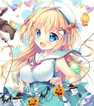 >_< 1girl :< :d ahoge animal bare_shoulders blonde_hair blue_eyes blue_skirt blush breasts candy_wrapper cat closed_mouth commentary_request hair_intakes hair_ornament halloween hat heart holding jack-o'-lantern jack-o'-lantern_hair_ornament long_hair looking_at_viewer medium_breasts mikeou open_mouth original shirt skirt sleeveless sleeveless_shirt smile solo two_side_up very_long_hair white_background white_headwear white_shirt wrist_cuffs