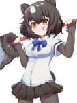 1girl :q animal_ears bangs bear_ears bear_girl bear_paw_hammer bear_tail black_legwear black_skirt blouse blue_neckwear bob_cut bow bowtie brown_bear_(kemono_friends) brown_eyes brown_hair closed_mouth collared_blouse cowboy_shot eyebrows_visible_through_hair fingerless_gloves gloves highres holding holding_weapon kemono_friends long_sleeves looking_at_viewer miniskirt pantyhose pleated_skirt short_hair short_over_long_sleeves short_sleeves simple_background skirt smile solo standing suya_kita tail tongue tongue_out weapon white_background white_blouse