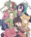+_+ 5girls :d animal_ear_fluff animal_ears bangs black_shirt black_shorts blush bottle bow brown_eyes brown_hair brown_jacket character_request closed_mouth commentary_request dragon_horns drawstring eyebrows_behind_hair eyebrows_visible_through_hair fang fate/grand_order fate_(series) floral_print glasses green_hair grey_background grey_legwear grin hair_between_eyes hair_bow headpiece highres hood hood_down hoodie horns jacket japanese_clothes kimono kiyohime_(fate/grand_order) legwear_under_shorts light_brown_hair long_hair looking_at_viewer multicolored_hair multiple_girls oni oni_horns open_clothes open_jacket open_mouth osakabe-hime_(fate/grand_order) pantyhose parted_bangs parted_lips pink_hoodie pink_kimono ponytail print_kimono purple_hair red-framed_eyewear red_bow red_eyes semi-rimless_eyewear shirt short_eyebrows short_shorts shorts shuten_douji_(fate/grand_order) sidelocks smile star_(symbol) star_print striped striped_legwear thick_eyebrows totatokeke two-tone_background two-tone_hair under-rim_eyewear v vertical-striped_legwear vertical_stripes very_long_hair violet_eyes white_background
