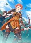 1girl 40hara arrow_(projectile) blue_sky bow_(weapon) brown_hair clouds company_name copyright_name day fingerless_gloves fire_emblem fire_emblem:_three_houses fire_emblem_cipher gloves highres holding holding_bow_(weapon) holding_weapon leaf leonie_pinelli official_art open_mouth orange_eyes orange_hair outdoors quiver short_hair sky solo_focus weapon